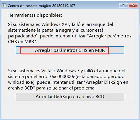 recuperación de windows CHS