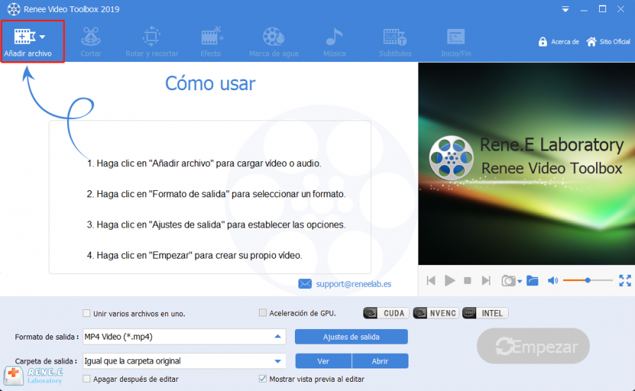 convertir swf a mp4 con renee video editor pro